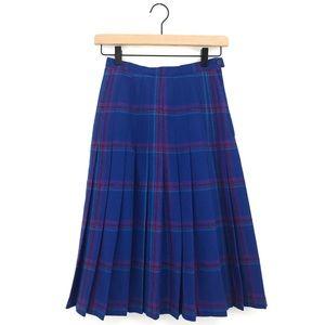 Pendleton Plaid Vintage Pleated Midi Skirt Wool